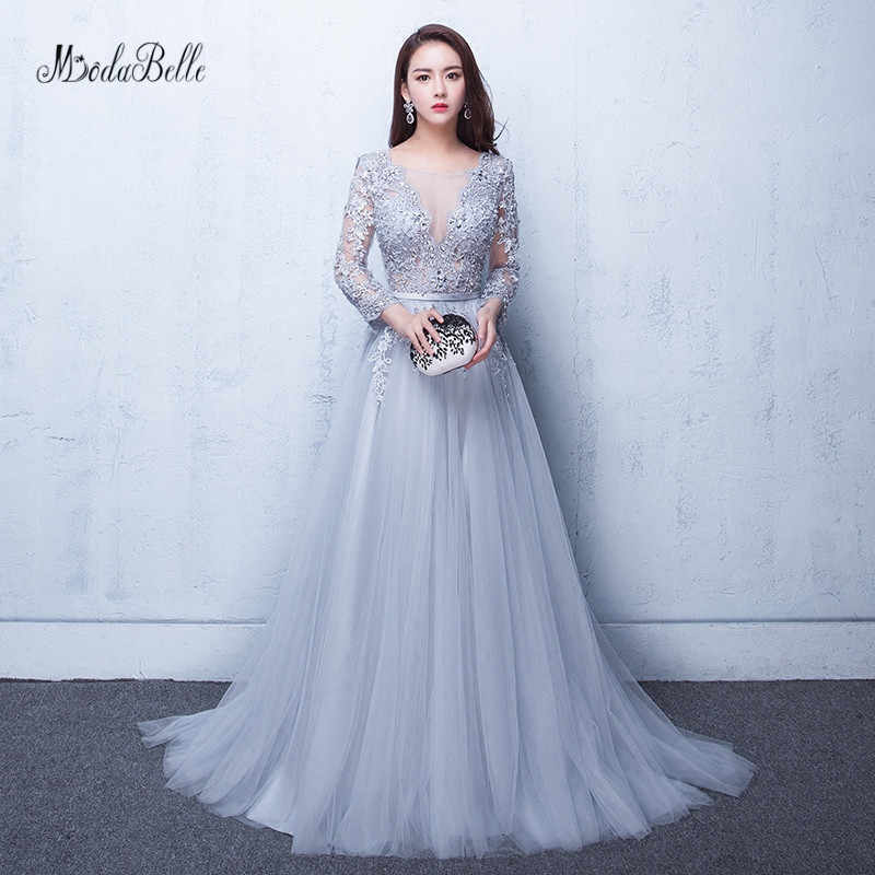 a04046465a41f Detail Feedback Questions about modabelle Gray Prom Dresses 2019 Robe  Soiree Manche Longue A line Tulle Appliques Sexy Formal Dress Robe De Bal  Longue on ...