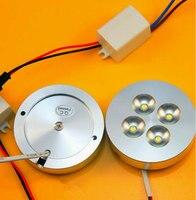 8pcs 12V DC AC220V 4X1W Dimmable LED Under Cabinet Light Puck Light Warm White Natural White