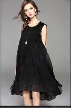 Cool 2017 Free Shipping New Spring Summer Cotton Linen Fashion Women Long Black White Dresses Loose Sleeveless Plus Size Dress