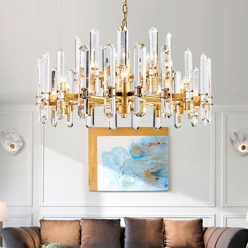 Royal pendentif cristal Lustre led Lustre longue tige de cristal suspendus Lustre lampe pleine cuivre hôtel Villa église lustres