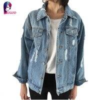 Rugod джинсовая куртка Для женщин Casacos Feminino тонкий рваные джинсовая куртка Femme элегантный Винтаж Курточка бомбер 2017 одноцветное пальто