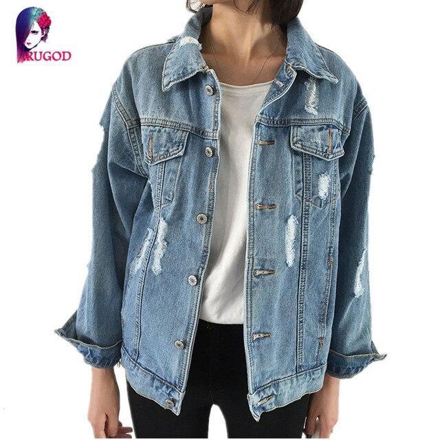 Rugod Jeans Jacket Mulheres Casacos Feminino Magro Ripped Holes Denim Jaqueta Bomber Jacket 2017 Casacos Básicos Femme Elegante Do Vintage