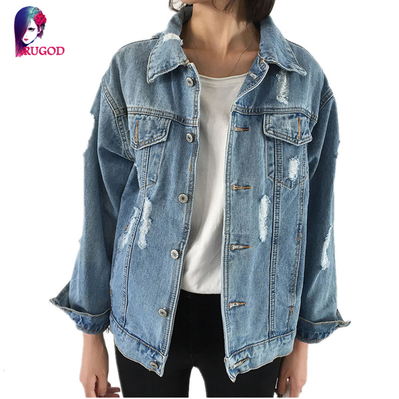 Rugod Jeans <font><b>Jacket</b></font> Women Casacos Feminino Slim Ripped Holes Denim <font><b>Jacket</b></font> Femme Elegant Vintage Bomber <font><b>Jacket</b></font> 2017 Basic Coats