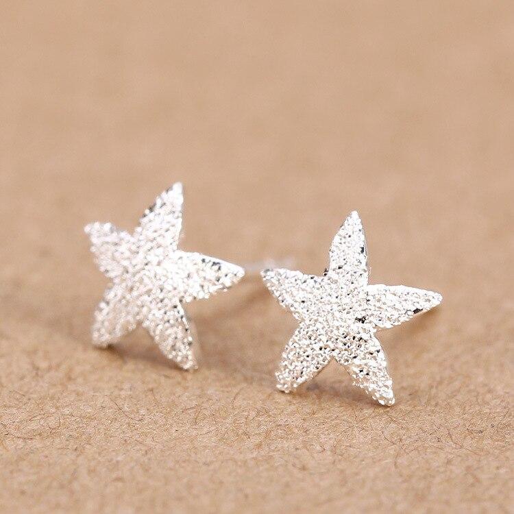 Para mujer 100% de Plata de ley 925 Joyas de Moda lindo Pequeño 5 estrellas Stud