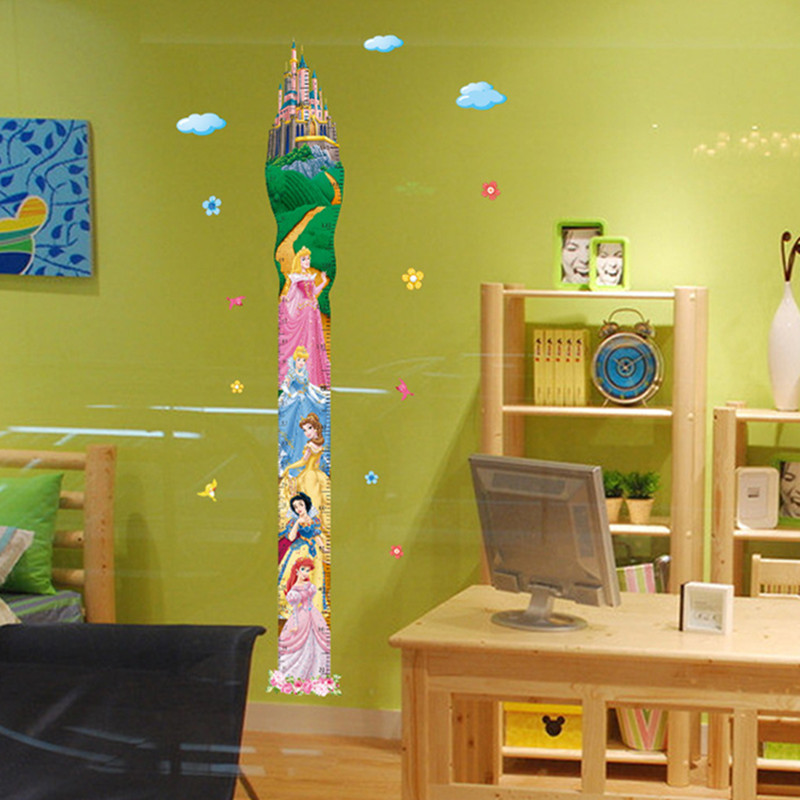 170cm girl Height measuring chart wall stickers Princess Castle 3d ...