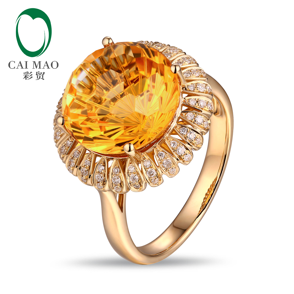 Caimao 12mm Special Cut 7.59ct Natural Citrine 14k Yellow Gold & 0.23ct Natural Diamond Engagement Ring