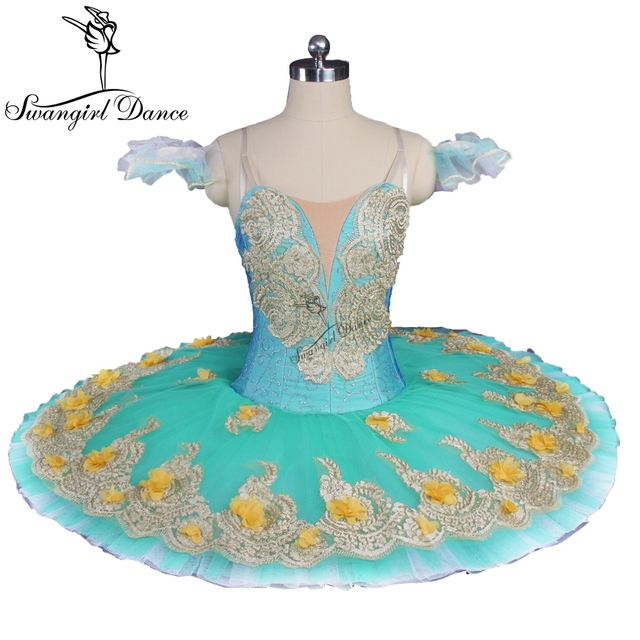 professional tutu ballet stage costumes Green Flower Fairy Women Professional Pancake Tutu Girls Classical Platter Dress BT9147C