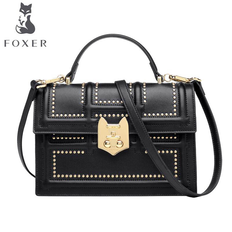 FOXER 2018 New Women leather bag designer famous brand leather women Cowhide bag fashion Fashion rivets tote shoulder bag fashion women s tote bag with rivets and checked design