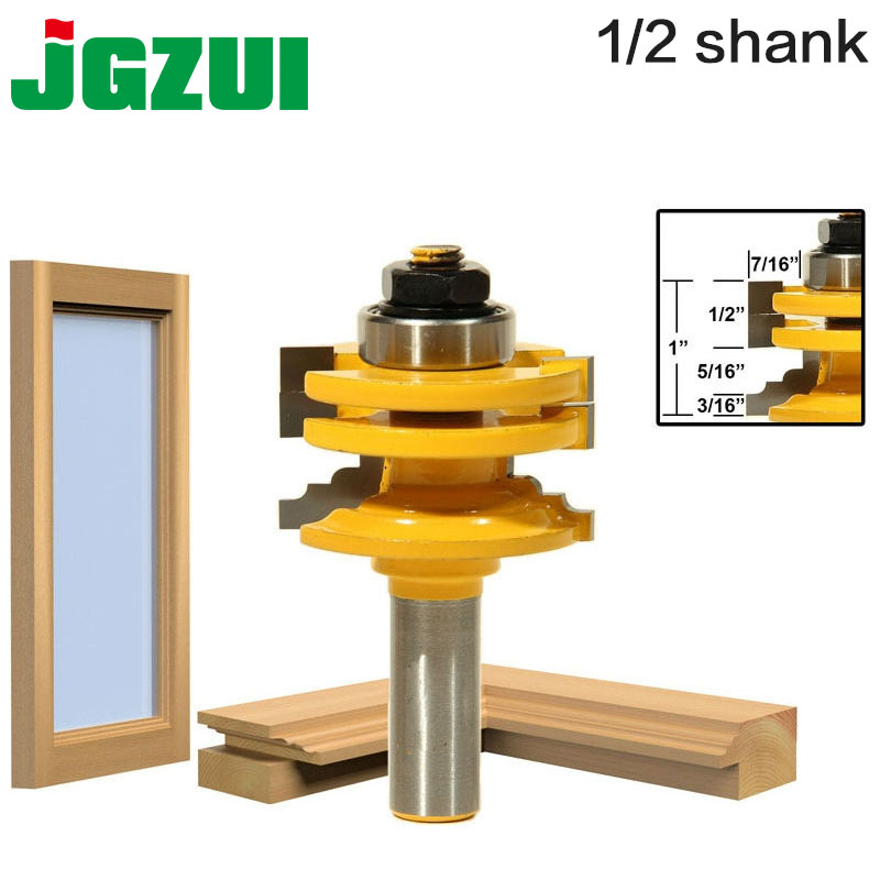 цена на 1 Pc 1/2 Shank Glass Door Rail & Stile Reversible Router Bit Wood Cutting Tool woodworking router bits-RCT