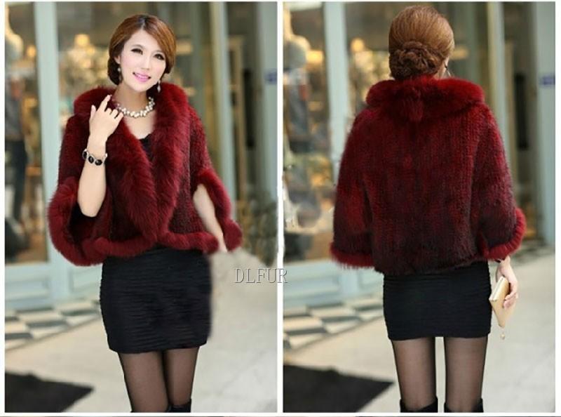 Hot Sale Genuine Mink Fur Shawl With Fox Fur Trim Women Natural Mink Fur Poncho Winter Knitted Mink Fur Jackets DL6235 (8)
