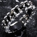 "2016 Newest Design 316L Stainless Steel Motorcycle Biker Chain Bracelet Heavy Mens Silver Tone Jewelry 9"" 24mm 131g"