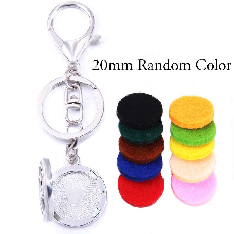 קלאסי דפוס אופנה בושם ארומה תליון Keychain נירוסטה ארומתרפיה חיוני שמן מפזר תיבת Keyring תכשיטים