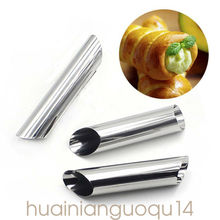Brand New Style Stainless Steel Non Stick Danish Bread Baking Decor Cannoli Croissant Mold Tools Tubes 12pcs
