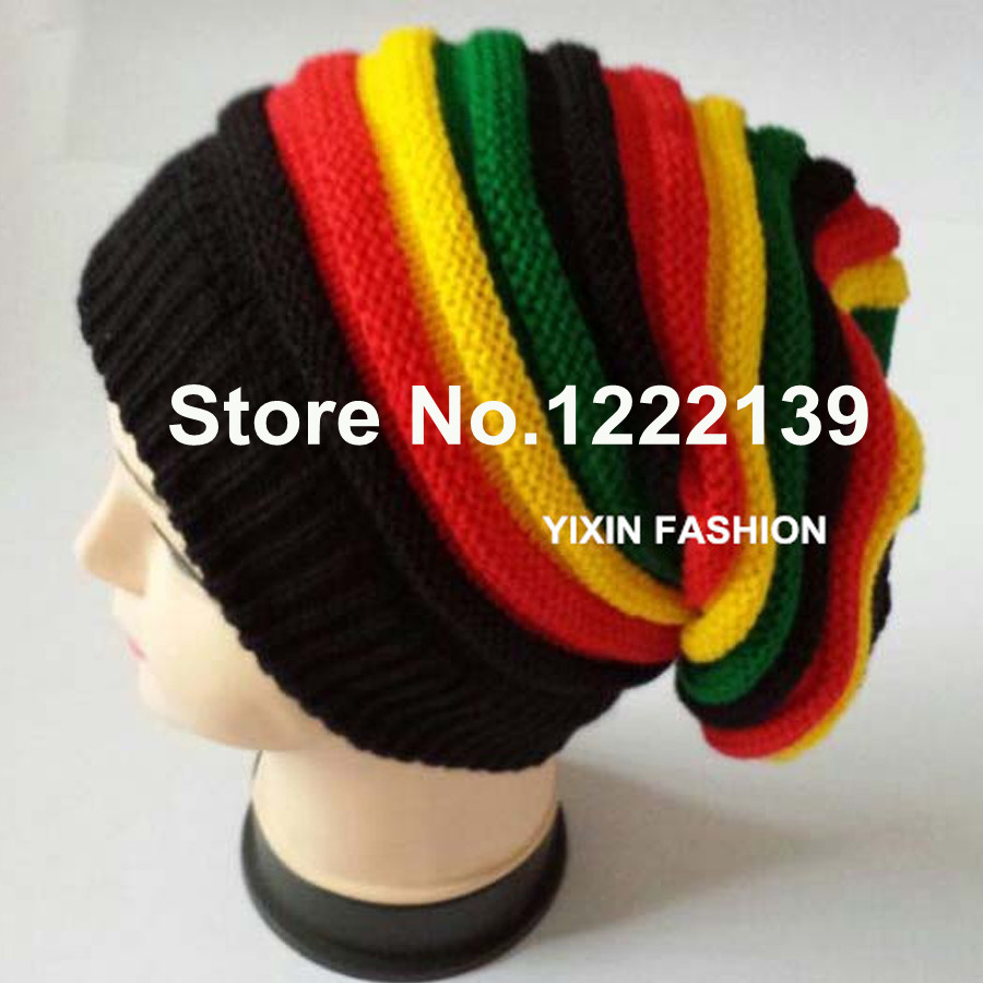 014e2562ef1 RASTA REGGAE JAMAICAN Beanie Slouchy Wrap Knitted Cap Fashion Hip Hop Bob  Marley Style Black Green Yellow Red Stripe Hat-in Skullies   Beanies from  Apparel ...