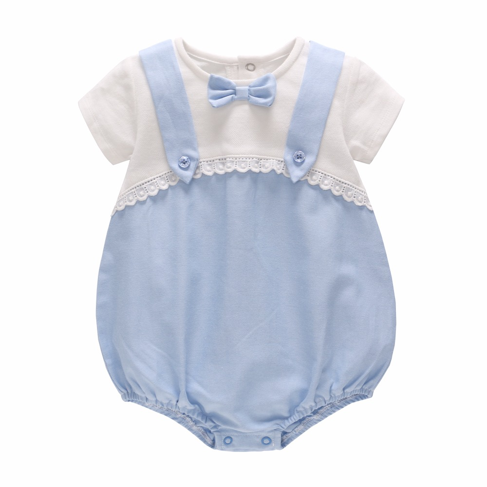 Vlinder 2018 New Cute Casual Summer Baby Girls Boys Newborn Patcgwork Bowknot Cotton Clothes Short Sleeves Infant Bodysuit