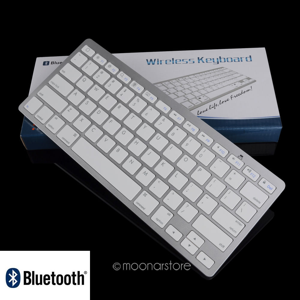 8c2072f54be Wireless Keyboard Ultra Slim Bluetooth Keyboard for iPad 2 3 4 for Mac  Powerbook iBook for Macbook Silver Color