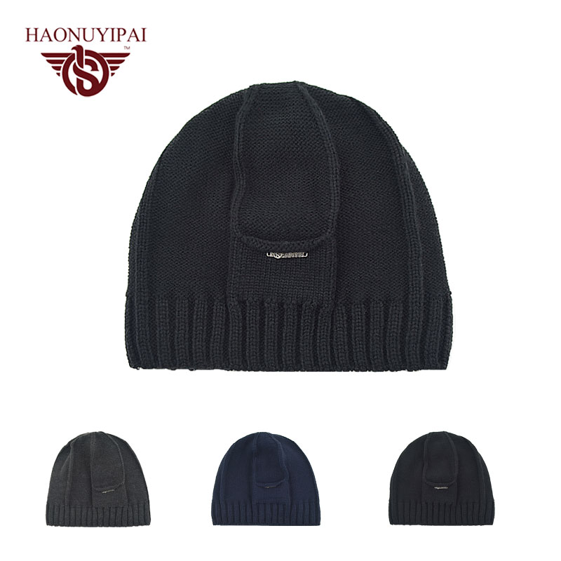 Winter Beanies Solid Color Hats Men Knitted Warm Soft Beanie Double Layer Plus Thick Velvet Cap For Men Outdoor Casual Caps A108  цены