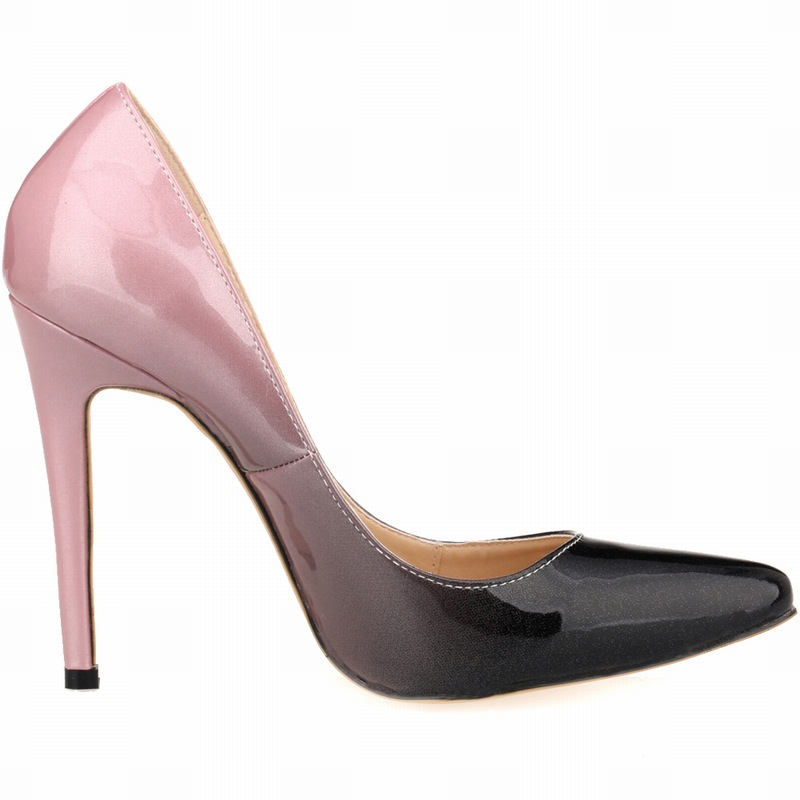 Fashion gradient color sexy pointed toe ultrafine shallow mouth high heeled shoes wedding shoes 12cm banquet
