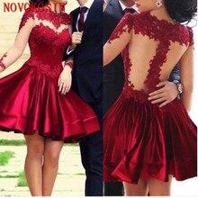 2019 Real Sample Long Sleeves Short Mini Dress Solid Satin Student Graduation Dresses Appliqued See Through Bridesmaid Dress burgundy see through long sleeves frilling details zip mini dress