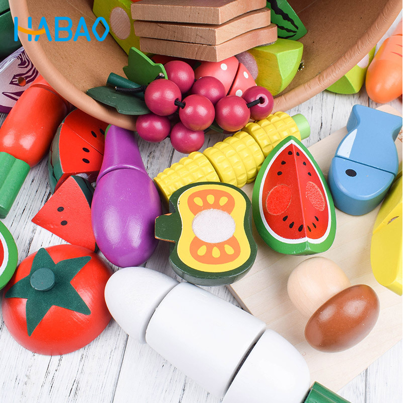 Wooden Kitchen Food Cutting Miniature Fruits Cooking Vegetables Early Educational Pretend Play Toys Gifts For Children