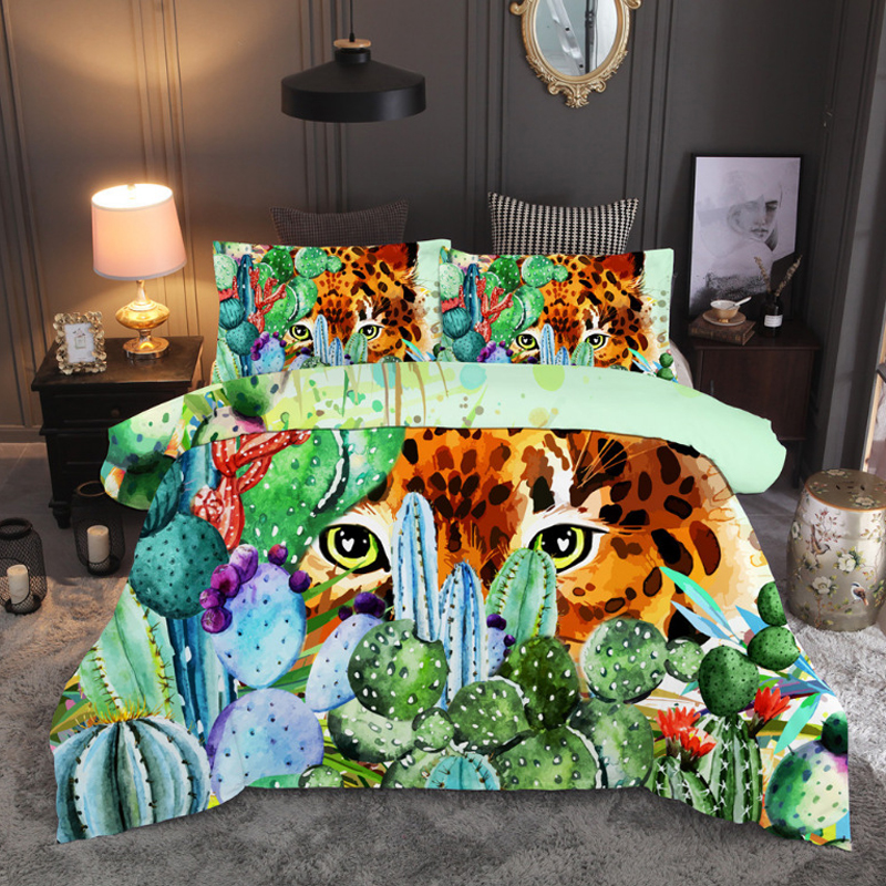 Plants Serious Cactus Leopord 3D bedding set Duvet Covers Pillowcases twin full queen king comforter sets bed linen