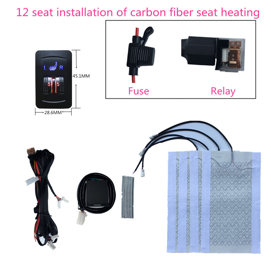 2 Seats 4 Pads Universal Carbon Fiber Car Heated Seat Heater 12V Pads 2 Dial 5 Level Switch  Winter Warmer Seat Covers heating2 Seats 4 Pads Universal Carbon Fiber Car Heated Seat Heater 12V Pads 2 Dial 5 Level Switch  Winter Warmer Seat Covers heating