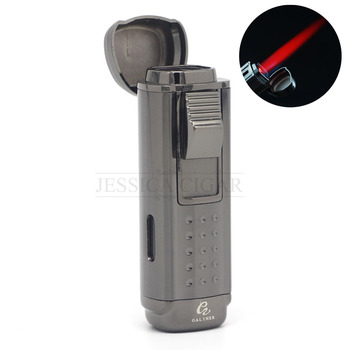 COHIBA Refillable Butane Gas Lighters 4 Torch Metal Cigar Cigarette Lighter Jet Flame Torch With Cigar Punch Gift Box