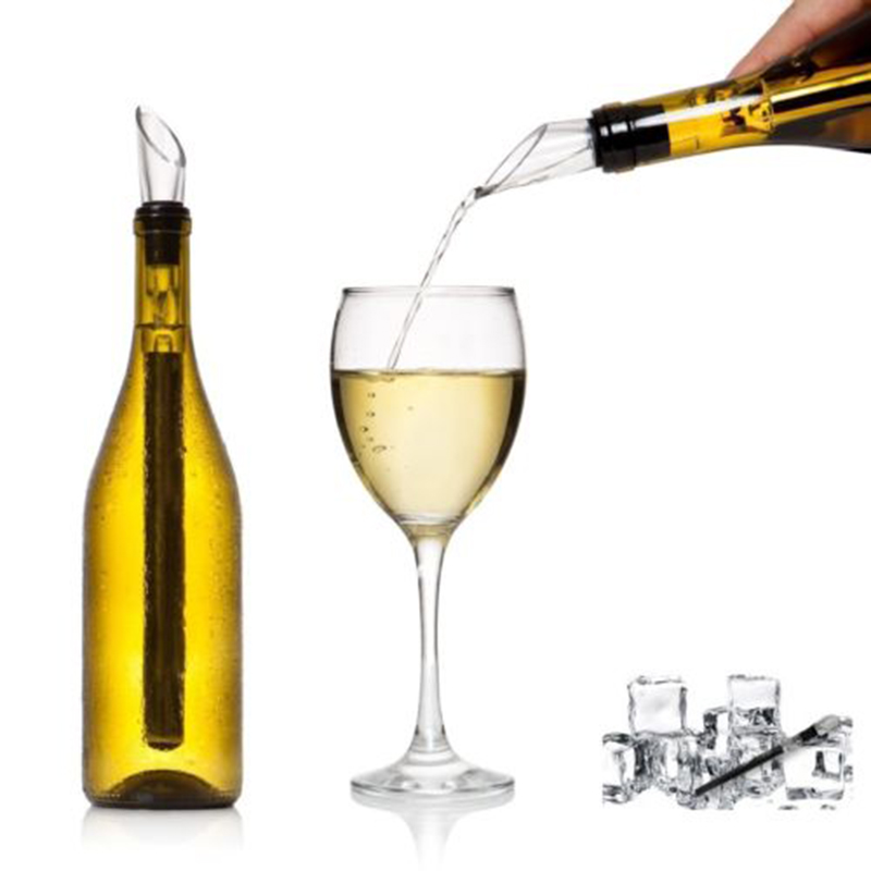 Stainless Steel Ice Wine Chiller Stick With Wine Pourer Wine Cooling Stick Cooler Beer Beverage Frozen Stick Ice Cool Bar Tool25(China)