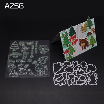 AZSG Animal park clear stamp and Cutting Dies Stencils for DIY Scrapbooking stamps die