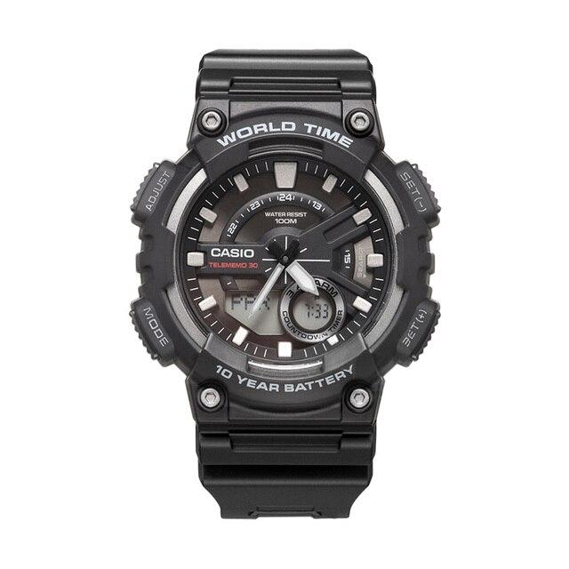 ساعة كاسيو الرياضية سلسلة الذكية المزدوجة عرض متعددة الوظائف الإلكترونية ساعة رجالي AEQ 110W 1A