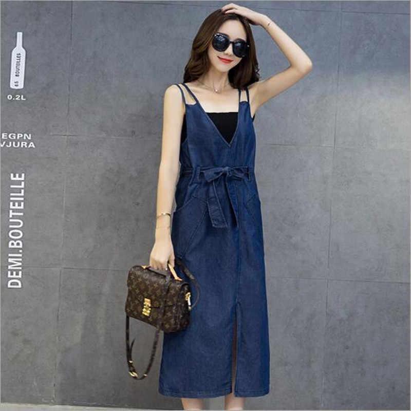 Джинсовый сарафан длинное джинсовое платье джинсовая одежда женская синяя майка с разрезом, миди платье с пояс-бандаж летние платья Vestido QC149