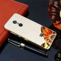 Xiaomi Redmi 5 5 Più Il Caso Dello Specchio di Metallo di Placcatura Della Copertura Della Pagina con Specchio Posteriore di Caso Duro Della Copertura per Xiaomi Redmi 5 più Hongmi 5 Più
