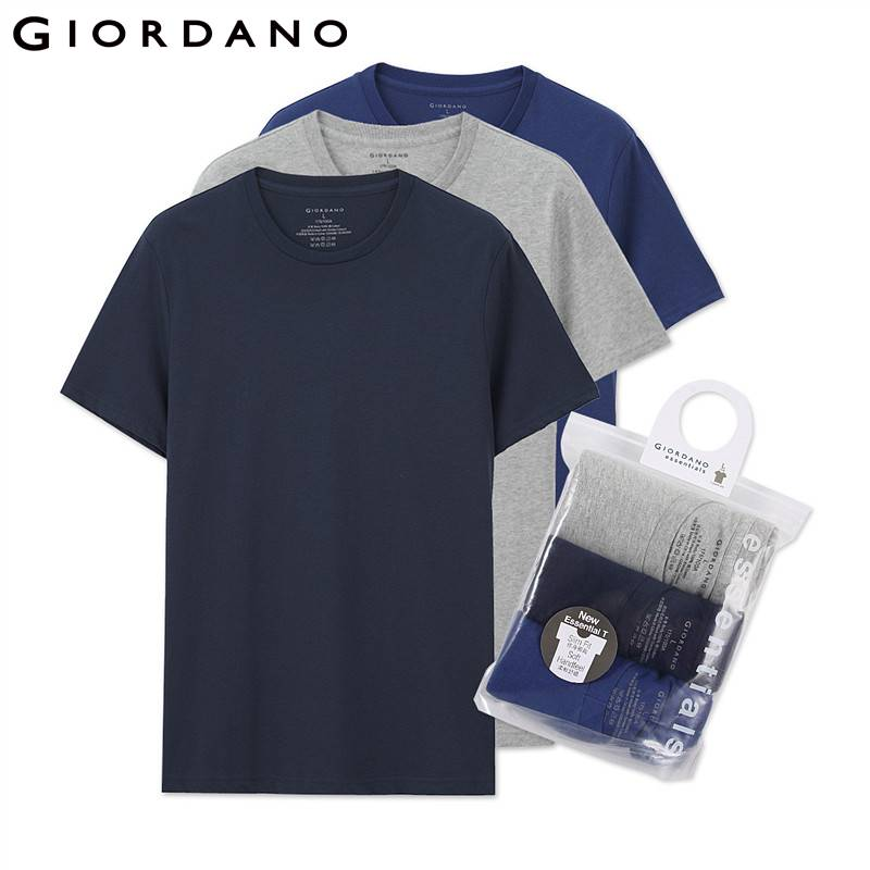 Giordano T-shirt Male Cotton Mens Tee Summer Jersey
