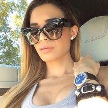 TESIA Oversized Cat Eye Sunglasses Women T Metal Luxury Brand Designer Sun Glasses Female Oculos T689