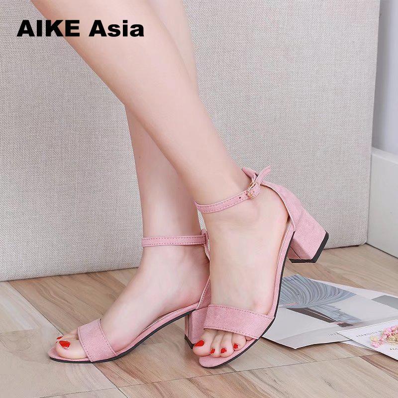 Women Pumps  Sandals Summer Open Toe Women High HeelsLow Block Heel Women Shoes Gladiator Shoes Ankle Strap 2019 Casual