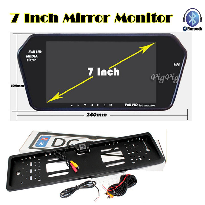 Auto Backup Rear licence plate Rearview Camera with 7 inch Bluetooth MP5 TFT Display monitor mirror USD/FM slot Free shipping auto backup rear licence plate rearview camera with 7 inch bluetooth mp5 tft display monitor mirror usd fm slot free shipping