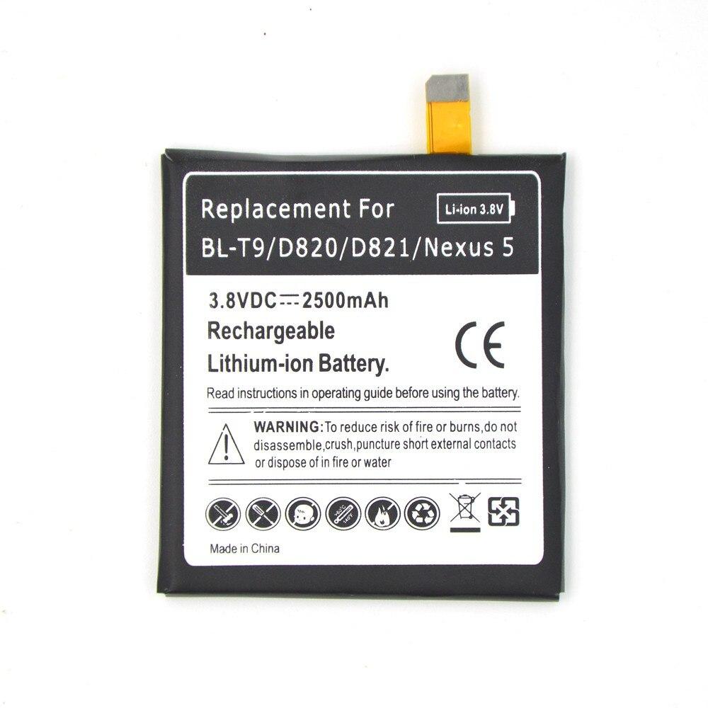 Reale Kapazität Für LG Google Nexus 5 BL-T9 Batterie 2500 mah 3,8 V Ersatz Wiederaufladbare bateria E980 D820 D821 phone batterien