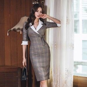 Image 3 - Automne cranté Vintage Plaid Vestidos nœud demi manches genou longueur moulante crayon bureau travail robe en tissu