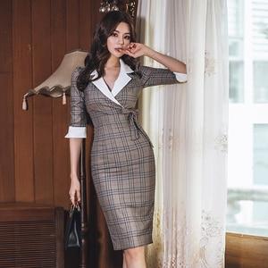 Image 3 - סתיו מחורצים בציר משובץ Vestidos Bowknot חצי שרוול באורך הברך Bodycon עיפרון משרד עבודת בד שמלה