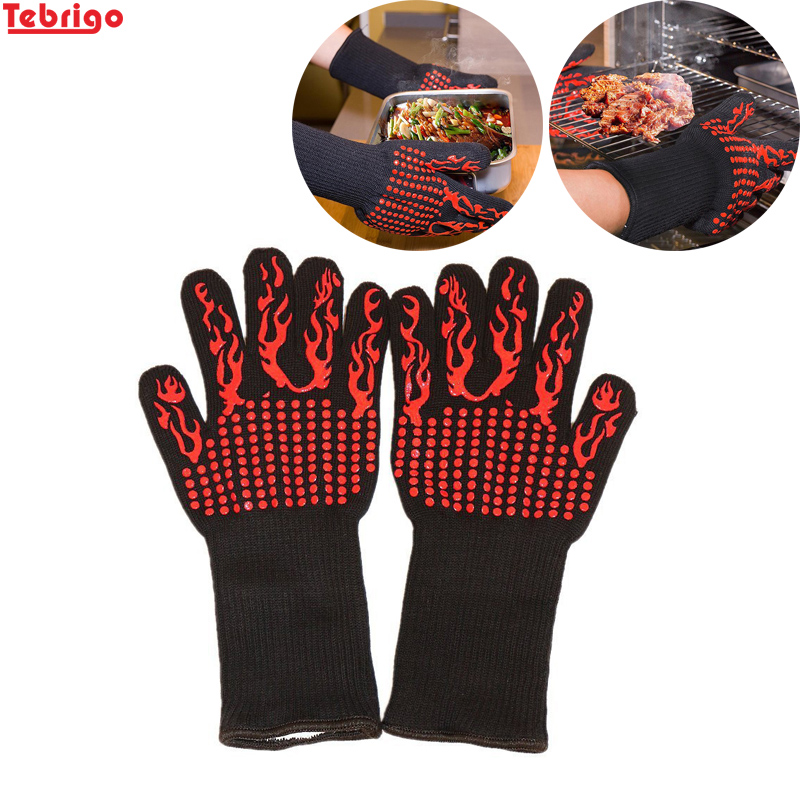 Tebrigo BBQ Gloves Heat Resistant Grill Gloves Non-slip Silicone Coated Pot Holders Oven Mitts Cooking Baking BBQ Grilling Tool