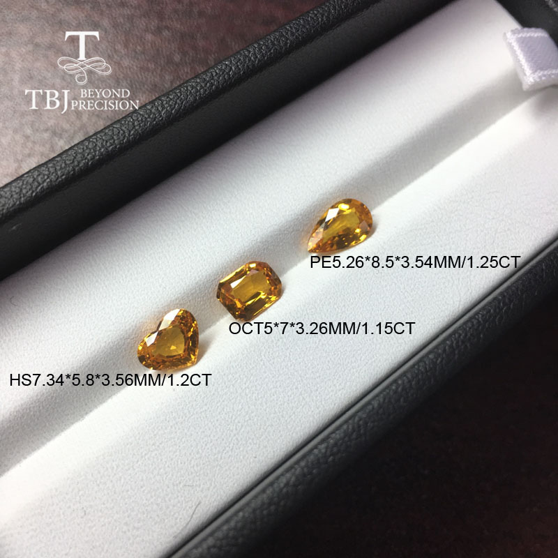 Tbj ,natural heated yellow sapphire 1ct up good quality slight inclusion gemstone for diy gold jewelry-in Rings from Jewelry & Accessories
