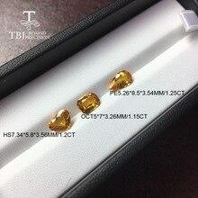 Tbj, zafiro amarillo calentado natural 1ct up buena calidad gema de inserción ligera para joyería de oro diy