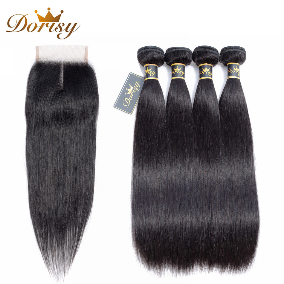 Dorisy Hair Pre-Colored 5 Pcs Indian Straight 100% Human Hair Bundles With Closure Natural Color Non Remy Hair Extensions