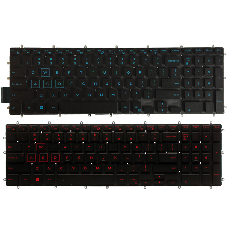 New US Laptop Keyboard For Dell G3 15 3579 3779 G5 15 5587 G7 15 7588 Keyboard Layout Blue/red Backlit(China)