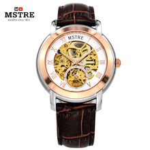 Марка MSTRE Мода Бизнес Часы мужские Автоматический Self-wind Skeleton Наручные Часы Из Нержавеющей Стали Кожаный Ремешок Сапфировое Маховик
