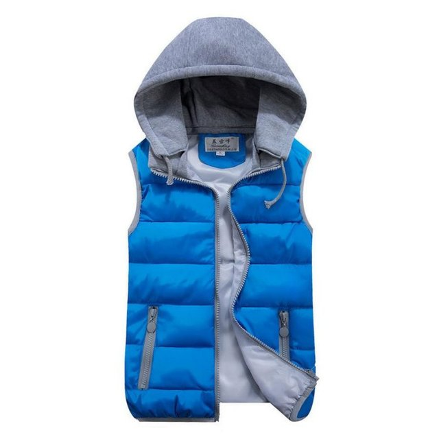 Women Cotton Wool Collar Hooded Down Vest Removable Hat Female Thicken Winter Warm Black Jacket Outerwear Hot Sales