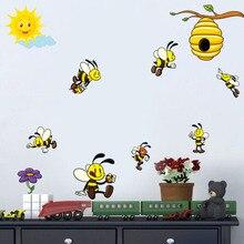 Cute Cartoon Bee Wall Decals Colorful Honey Bee Wall Sticker Modern Nursery Vinyl Stickers For Kids Room Murals Diy Home Decor