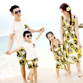 Free Shipping Summer Family clothing sunflower Bohemia mother girl dresses girls long Dress father Boys t shirt pants Outfits