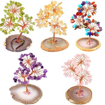 TUMBEELLUWA Natural Crystal Money Tree Agate Slices Base Bonsai Feng Shui Wealth Luck Figurine for Home Decoration