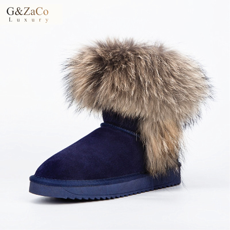 G&ZaCo Luxury Women Large Natural Fox Fur Snow Boots Waterproof Genuine Leather Flat Ankle Boots Winter Real Raccon Fur Boots jxang fashion thick natural fox fur snow boots women boots 100% real leather waterproof winter warm snow boots ankle boots